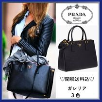 PRADA GALLERIA Saffiano A4 2WAY Plain Elegant Style Handbags