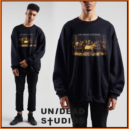 Crew Neck Pullovers Sweat Street Style Bi-color Long Sleeves