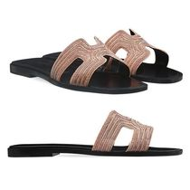 HERMES Oran Open Toe Plain Leather With Jewels Sandals