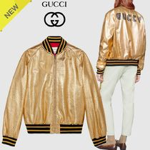 GUCCI Short Star Collaboration Bi-color Leather Biker Jackets