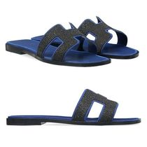 HERMES Open Toe Suede Plain With Jewels Sandals
