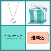 Tiffany & Co OPEN HEART Costume Jewelry Silver Elegant Style Necklaces & Pendants