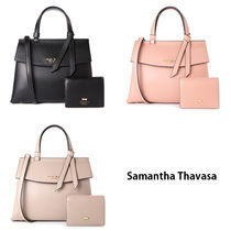 Samantha Thavasa Street Style Plain Leather Office Style Handbags