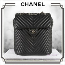 CHANEL Calfskin 2WAY Chain Plain Elegant Style Backpacks