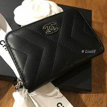 CHANEL Calfskin Plain Fringes Long Wallets