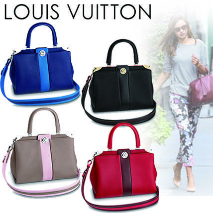 Louis Vuitton Handbags 2WAY Plain Leather Elegant Style Handbags