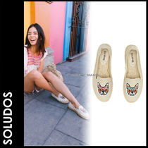 SOLUDOS Plain Toe Casual Style Other Animal Patterns Flats