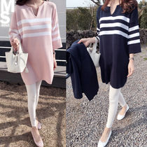 Short Stripes Casual Style V-Neck Cropped Dresses