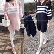 Short Stripes Casual Style V-Neck Cropped Oversized Dresses