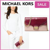 Michael Kors Blended Fabrics 2WAY Bi-color Leather Party Style Clutches