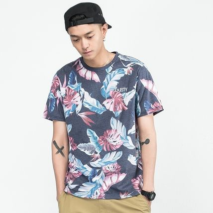 Crew Neck Tropical Patterns Street Style Short Sleeves