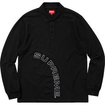 Supreme Street Style Long Sleeves Plain Cotton Polos