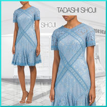 TADASHI SHOJI A-line V-Neck Medium Short Sleeves Party Style Lace Dresses