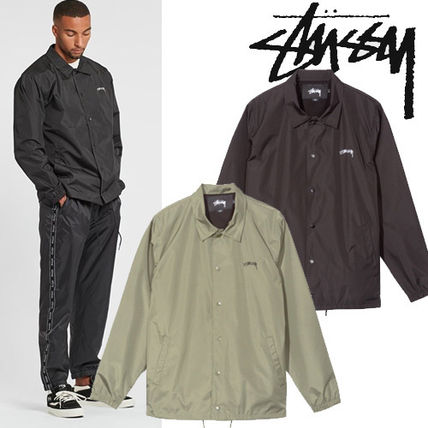 Short Street Style Plain Coach Jackets Khaki Coach Jackets