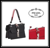 PRADA ELEKTRA Casual Style Calfskin Studded 2WAY Plain Shoulder Bags