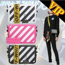 Off-White BINDER CLIP Stripes Casual Style Unisex Calfskin Street Style 3WAY