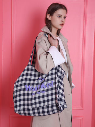 Gingham Casual Style Unisex Street Style Shoulder Bags