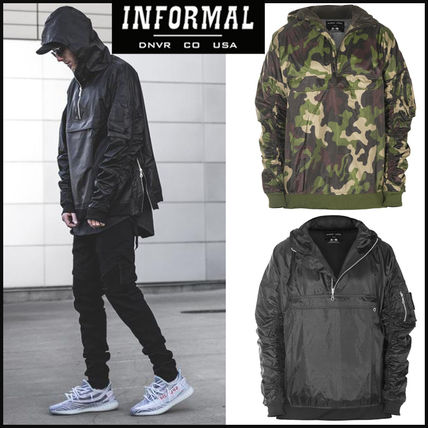 Pullovers Camouflage Nylon Street Style Long Sleeves Plain