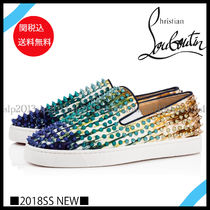 Christian Louboutin ROLLER BOAT Blended Fabrics Studded Leather Loafers & Slip-ons