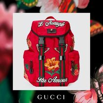 GUCCI Flower Patterns Canvas Street Style Backpacks