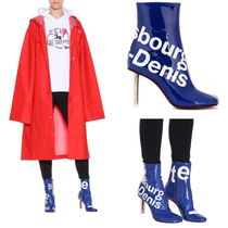 VETEMENTS Square Toe Bi-color Block Heels PVC Clothing Elegant Style