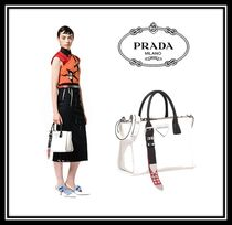 PRADA CONCEPT  Casual Style Calfskin Studded 2WAY Plain Handbags