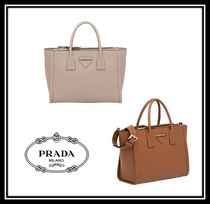 PRADA CONCEPT  Calfskin A4 2WAY Plain Office Style Handbags