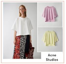 Acne Crew Neck Short Casual Style Plain Cotton Short Sleeves