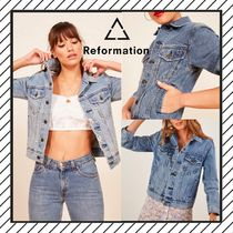 REFORMATION Short Casual Style Denim Street Style Plain Jackets