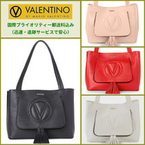VALENTINO Tassel A4 Plain Leather Office Style Totes
