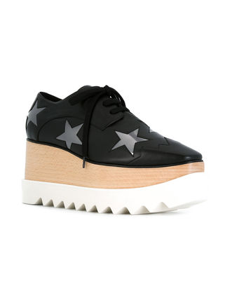 Stella McCartney Low-Top Star Plain Leather Elegant Style Low-Top Sneakers 4