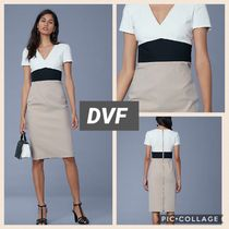 DIANE von FURSTENBERG Tight V-Neck Short Sleeves Dresses
