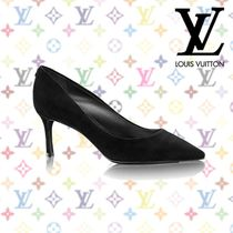 Louis Vuitton Suede Plain Pin Heels Pointed Toe Pumps & Mules
