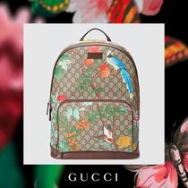 GUCCI Flower Patterns Canvas Backpacks