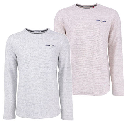 Crew Neck Pullovers Stripes Long Sleeves Cotton