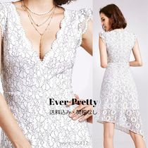 Ever-Pretty Flower Patterns Flared V-Neck Plain Medium Party Style Lace