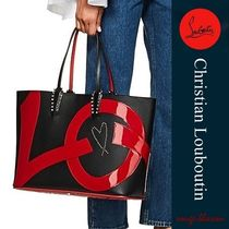 Christian Louboutin Unisex Studded A4 2WAY Plain Leather Totes