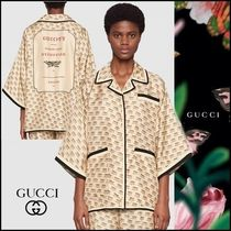 GUCCI Monogram Silk Cropped Medium Elegant Style Shirts & Blouses
