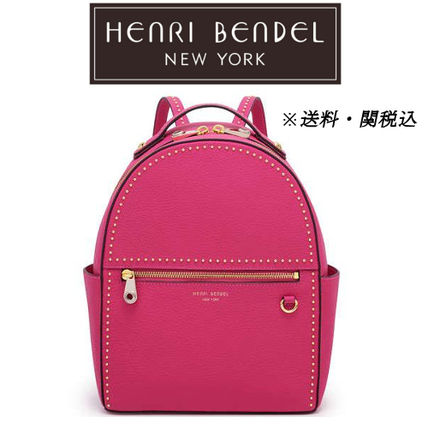 Casual Style Studded Plain Leather Backpacks