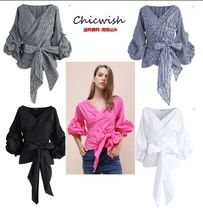 Chicwish Gingham Stripes Casual Style Puff Sleeves Shirts & Blouses