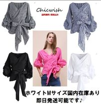Chicwish Gingham Stripes Casual Style V-Neck Puff Sleeves