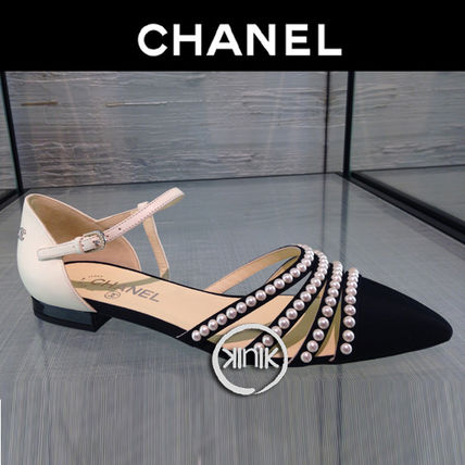 CHANEL Pointed Toe Blended Fabrics Plain Leather With Jewels Elegant Style 2