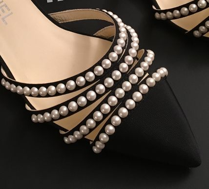 CHANEL Pointed Toe Blended Fabrics Plain Leather With Jewels Elegant Style 10