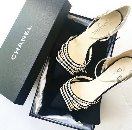 CHANEL Pointed Toe Blended Fabrics Plain Leather With Jewels Elegant Style