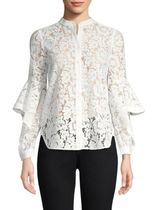 BCBG MAXAZRIA Plain Medium Party Style Lace Puff Sleeves Shirts & Blouses