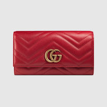 GUCCI GG Marmont Plain Leather Long Wallets
