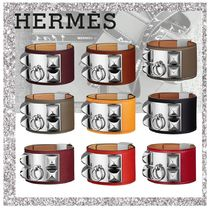 HERMES Collier de Chien Bangles Casual Style Leather Bracelets