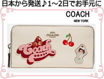 Coach Tropical Patterns Plain Leather With Jewels Long Wallets