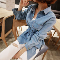 Casual Style Denim Street Style Long Sleeves Plain Medium