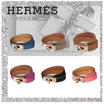 HERMES Kelly Bangles Casual Style Leather Bracelets